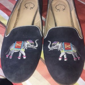 Charming Charlie Shoes - Embroidered Elephant Navy Flats- size 9.5